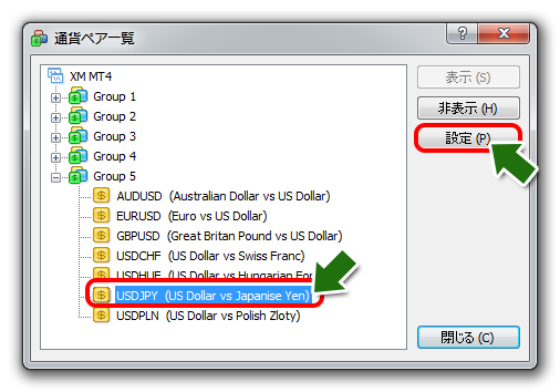 MT4スワップ表示方法