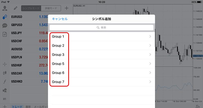 iPad版MT4気配値