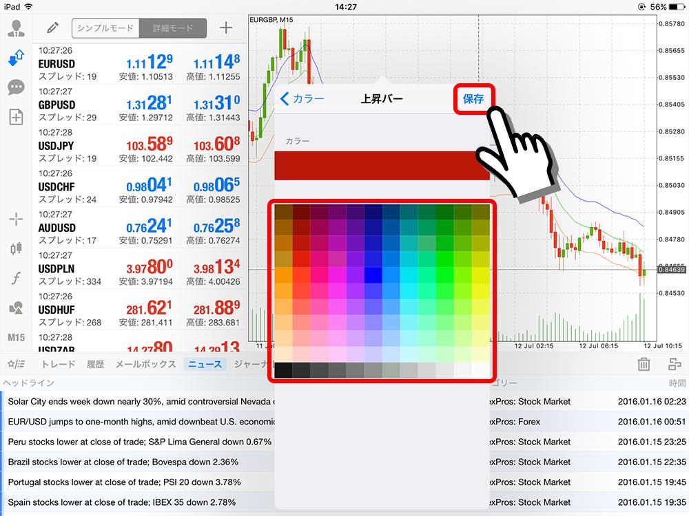 MT4 ipad チャートカラー設定画面