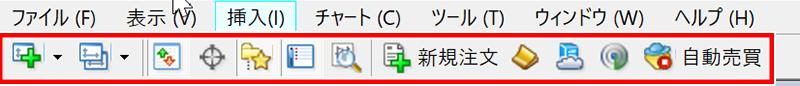 MT4ツールバーの標準表示