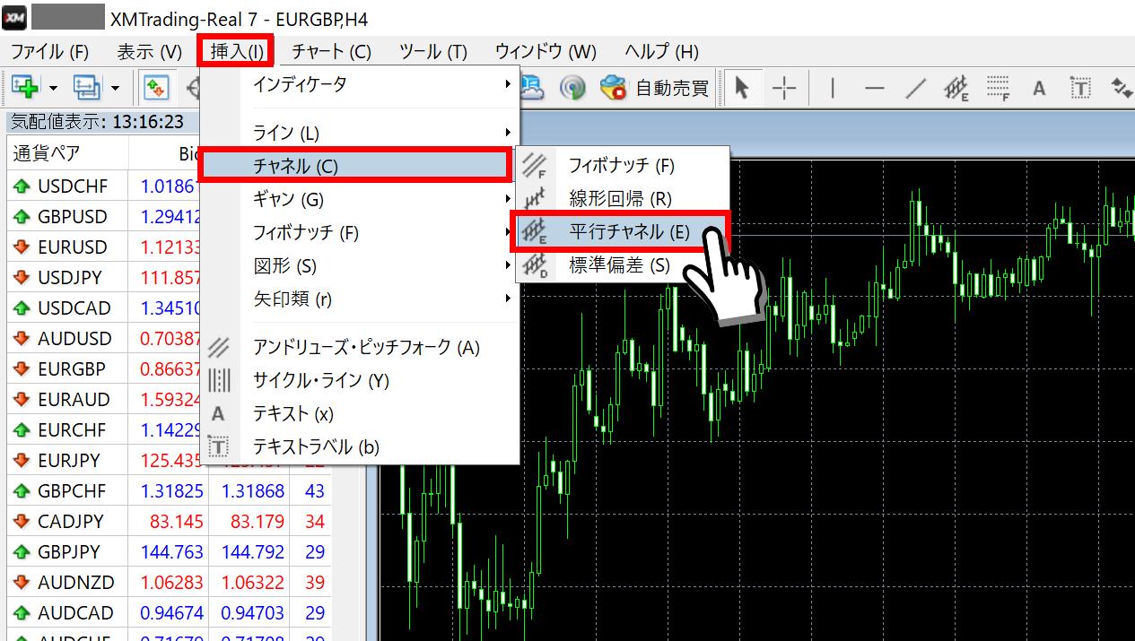 MT4 チャネルライン 挿入